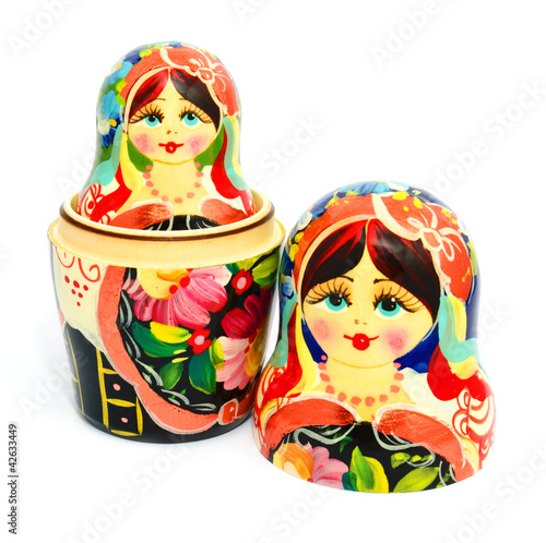 Russian nesting doll isolated on white