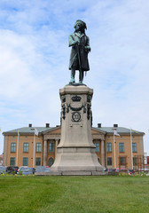 King Karl XI statue in Karlskrona city