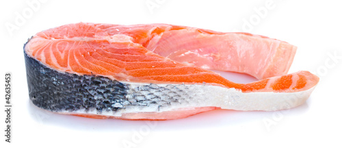 fresh salmon steak isolated on white