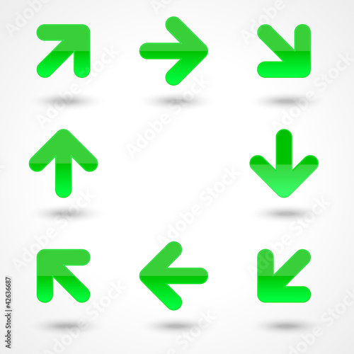Vector glassy green arrow web icon button.