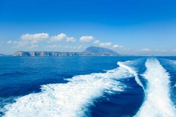 Alicante Denia view from sea and boat wake