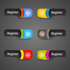 Modern abstract register icon header with shadow vector.
