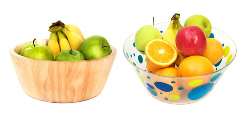 Bowls of fresh fruit isolated on white