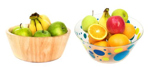 Bowls of fresh fruit isolated on white