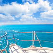 Anchor boat y tropical idyllic tropical turquoise beach