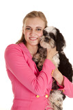 woman pink jacket love dog