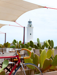 La Mola lighthouse in formentera with bicycle