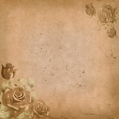 Old grunge paper background with floral corners.