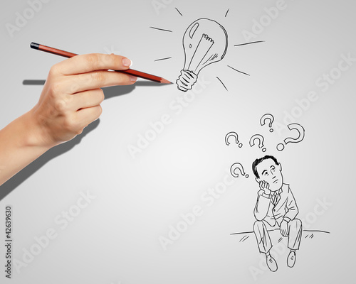 Businessman finding a creative solution
