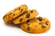 Chocolate chips cookies isolated on white.