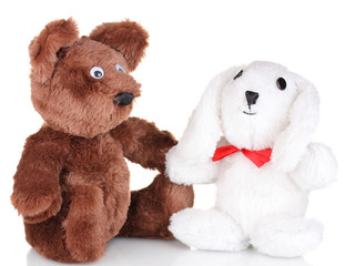 Toy bear and bunny isolated on white