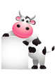 funny cow with blank sign