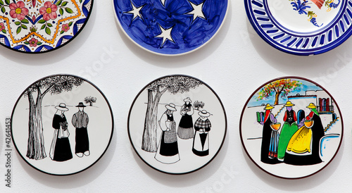 Ibiza typical painted plates souvenir with payes