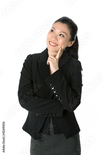 Happy Asian Business woman looking up.