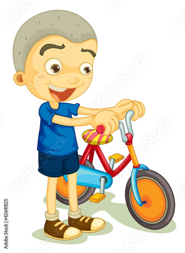 a boy playing bicycle
