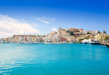 Fototapety Eivissa Ibiza town with church under blue sky
