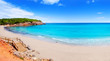 Cala Nova beach in Ibiza island with turquoise water