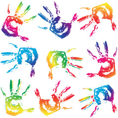 Seamless colorful hand prints background