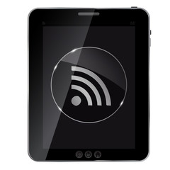 Glass rss button icon on abstract tablet. Vector illustration