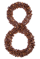 number 8 from coffee beans.