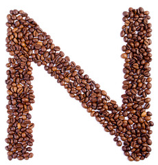Alphabet from coffee beans.