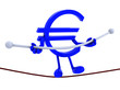 symbol euro acrobat who walks on a wire