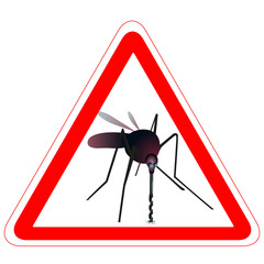 Warning road sign with mosquito