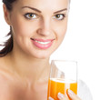 Girl with glass of orange juice, on white
