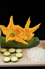 zucchini with squash blossoms and rice