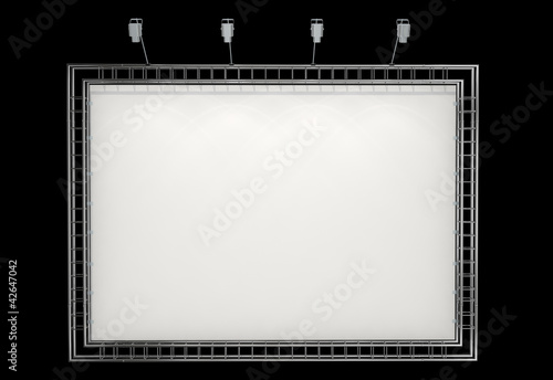 blank banner on truss system isolated on black