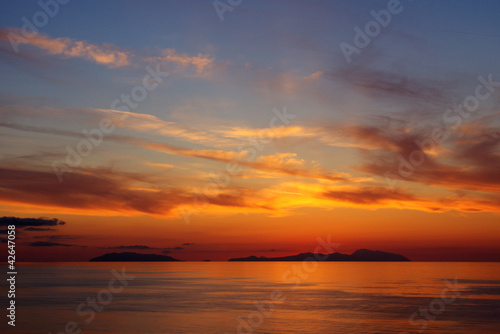 Sunset on the Aeolian islands