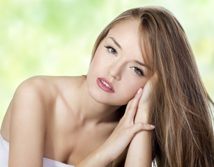 Sensual woman model with  straight long blond hair