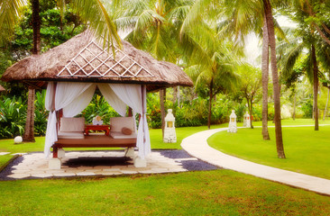 Canopies for massage on a beach in Bali