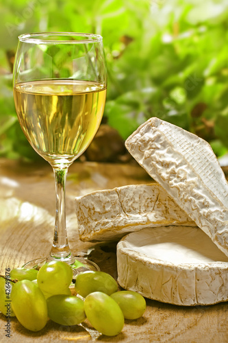 White wine, Brie, Camembert and grape on the table outdoor