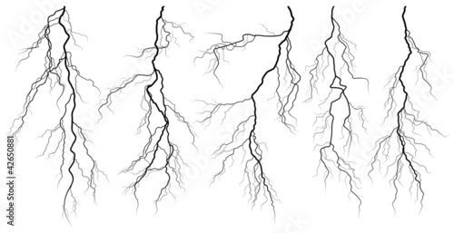 Set of silhouettes of thunderstorm lightning. - 42650881