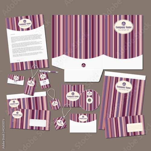 Pink stripes statinary set