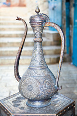 Typical vintage metal teapots in Jerusalem