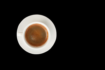 hot coffee cup isolated on black  background