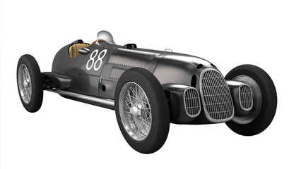 Antique Racing car - white background
