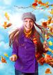 Leinwandbild Motiv mädchen mit buten Herbstblättern / active autumn 06
