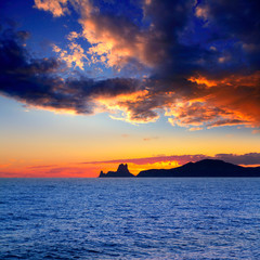 Ibiza island sunset with Es Vedra in background