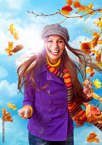 canvas print picture mädchen mit buten Herbstblättern / active autumn 06