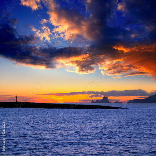 Ibiza island sunset with Es Vedra and Gastabi islet