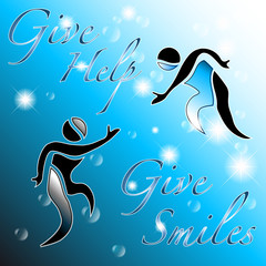 Give help, give smiles: abstract background