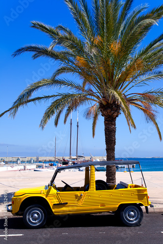 Formentera island with summer retro convertible