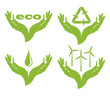 A set of eco symbols  in female hands.