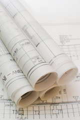 Architect rolls and plans.architectural plan