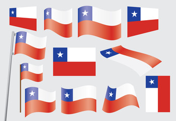 set of flags of Chile vector illustration
