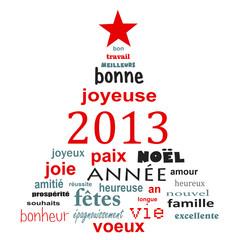 2013, sapin voeux français, fond blanc