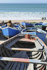 Fishing boats on the beach in Taghazout